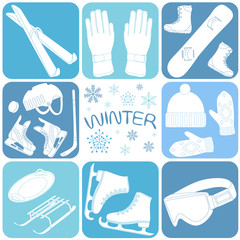 icons set of winter sports vector illustration