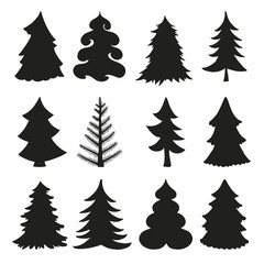 Christmas tree silhouettes.Black