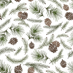 Christmas tree branches,cone seamless pattern