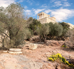 Fototapete - Vertical panorama on Acropolis of Athens in Fall