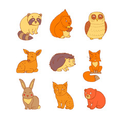 Doodle set of cute colored animals with squirrel, fox, lynx, raccoon, hedgehog, bear, deer, owl and rabbit. Cute forest animal set,doodle sketch collection