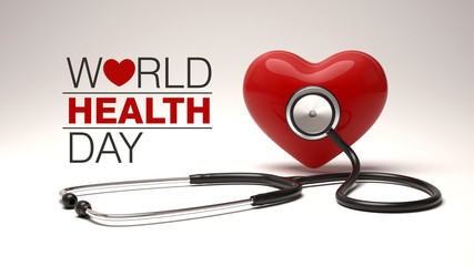 World health day concept with heart and stethoscope.