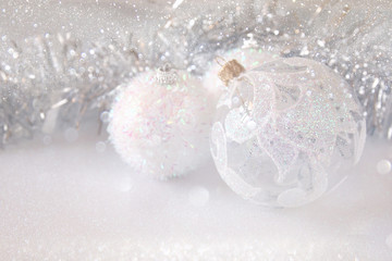 Image of christmas festive tree white ball decoration