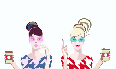 abstract vector two fashion women in  sunglasses  with coffee, sale, gossip