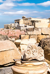 Fototapete - Old stones and pieces of columns on the top of Acropolis, Athens