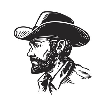 Portrait man in cowboy hat. Sketch vector illustration