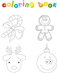 Christmas candy cane, gingerbread man, deer and bauble