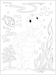 Turtle in the ocean. Dot to dot game for kids
