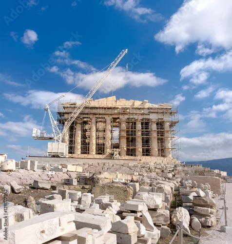"""Reconstruction of Parthenon Temple in Acropolis of Athens ..."