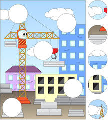 Cartoon crane at a construction site. Complete the puzzle and fi
