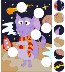 Funny alien on an unknown planet in space. Complete the puzzle a