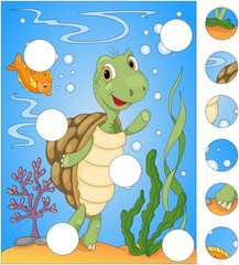 Cartoon turtle and fish. Complete the puzzle and find the missin