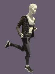 Running female mannequin.