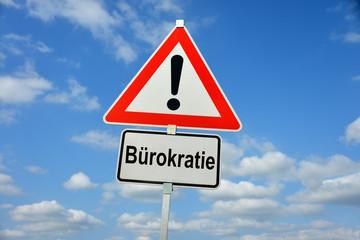 Bürokratie, Verwaltung, Beamte, Bürokratismus, Schild, Achtung, symbolisch, Vorschriften, Behörde, Entbürokratisierung, bürokratisch, Formulare