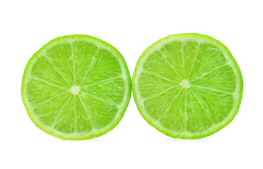 Slice of fresh lime isolated on white background