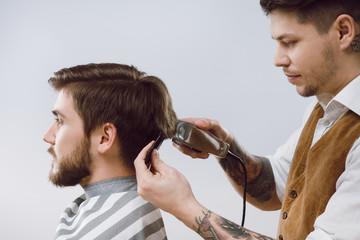 Barber doing a haircut