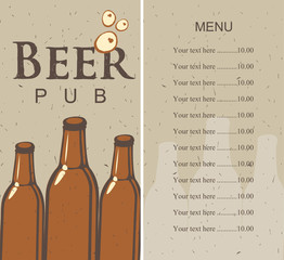 menu with picture beer bottle and price