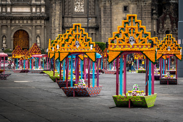 Zocalo decoration for the Day of Dead - Mexico City, Mexico