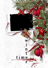 Christmas background. Card for photos and congratulations
