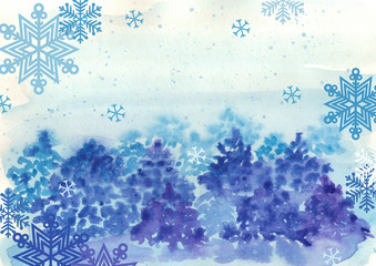 Watercolor winter background with trees and snowflakes
