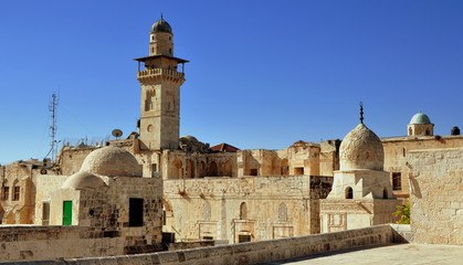 Minarett der Al-Aqsa Moschee auf dem Tempelberg von Jerusalem