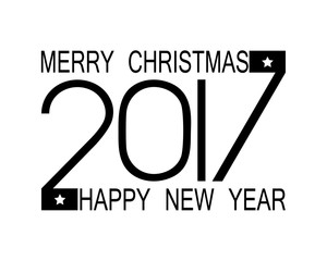 2017 numbers of Happy New Year and Merry Christmas