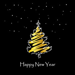 Hand drawn Christmas tree with gold on black background. Happy New Year card. Vector
