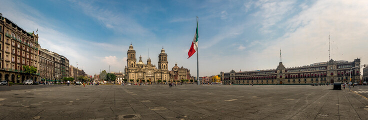 Spoed Fotobehang Mexico Panoramic view of Zocalo and Cathedral - Mexico City, Mexico