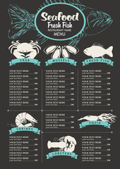 menu with price list for a seafood restaurant with a picture of marine animals and fish