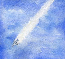 Watercolor airplane with jet trail in blue sky.