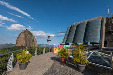 On the top of the Urca mountain, the view to the Sugarloaf Mountain. Rio de Janeiro, Brazil