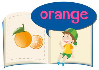 Fresh orange on children book