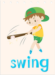 Wordcard with boy swing the bat