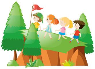 Kids hiking up the mountain
