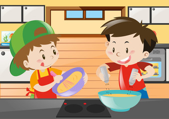 Two boys cooking in the kitchen