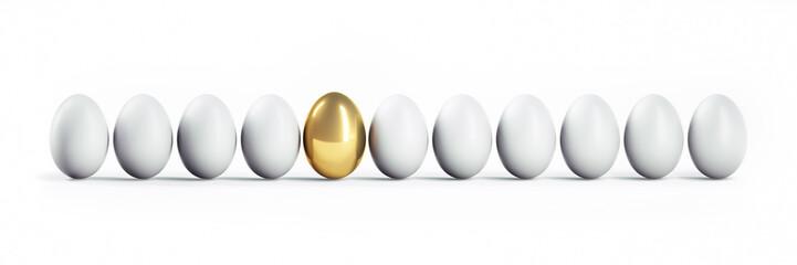 Goldenes Ei in Reihe Weißer Eier 2