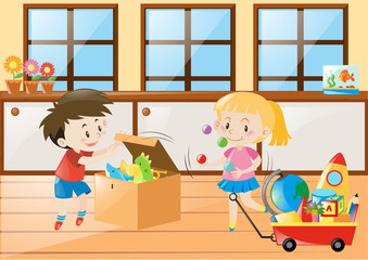 Boy and girl playing toys at home