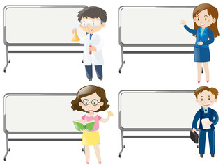 Board template with people of different jobs