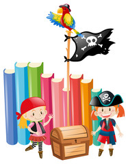 Girls dressed up as pirate crews