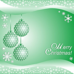 Green xmas Background with Balls with Place for your Information