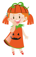 Girl in pumpkin costume for halloween