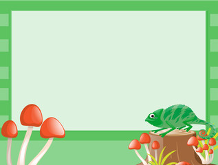 Border template with lizard on log