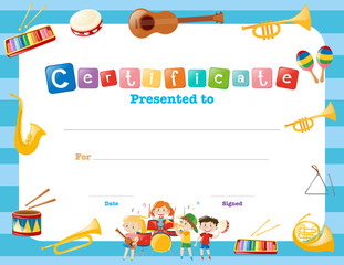 Certification template with musical instruments