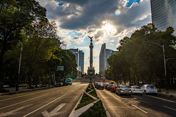 Printed kitchen splashbacks Mexico Paseo de La Reforma avenue and Angel of Independence Monument - Mexico City, Mexico