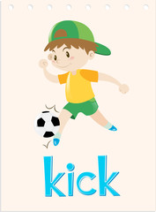 Word card with boy kicking ball