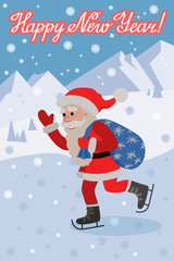 Vector greeting card with lettering congratulation and flat style Santa Claus on ice skates.