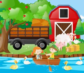 Kids and farm animals on the farm