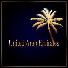 Gold inscription - logo United Arab Emirates with a palm tree and the frame