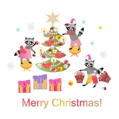 Merry Christmas! Cute raccoons decorate the Christmas tree. Vector illustration