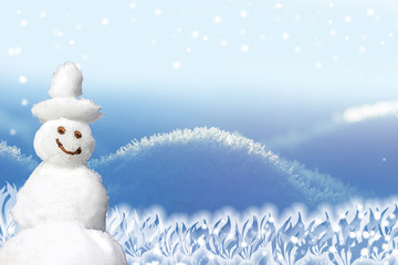 winter design background with snowman and flakes
